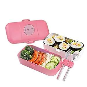 Nuxit 矩形密封塑料午餐盒 粉红色
