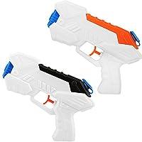 Zooawa 水枪喷气枪,2 只装水枪射水枪儿童派对喜爱玩具适用于夏季游泳池海滩后院,黑色 + 橙色