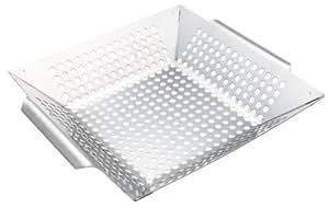 Mr. Bar-B-Q Platinum Prestige 不锈钢蔬菜烧烤篮 – 非常适合烹饪清脆蔬菜、鱼和烧烤肉 – 内置手柄 – 非常适合烹饪和露营