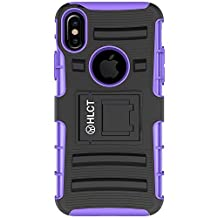 iPhone X Case, HLCT Rugged Shock Proof Dual-Layer Case with Built-In Stand Kickstand 紫色 iPhone X