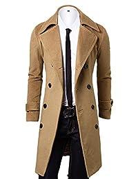 OCHENTA 男式双排扣翻领修身羊毛大衣