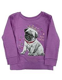 婴儿和幼儿女童紫色公主小狗羊毛运动衫上衣婴儿衬衫