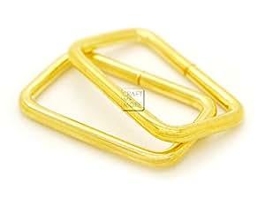 "CRAFTMEmore 金属矩形扣环 用于包带 环带 重型矩形绳适合织带 1-1/4"" 和 1-1/2"" 宽 20 件装 金色 1-1/4 Inches unknown"