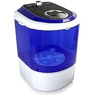 Pure Clean *版顶部装载机,便携式,迷你洗衣机,静音洗衣机,旋转控制器,110V,适用于紧凑型洗衣,4.5磅(约2.3公斤)容量,半透明桶,蓝色