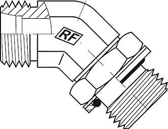 "Adaptall 5058S-10-06 系列 5058S 碳钢 45 度弯头重型适配器,M18X1.5 公头 DIN 管 x 3/8""-19 公头 BSPP,碳钢,M18X1.5 x 3/8""-19"