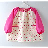 儿童 小型 星图案 长袖 带口袋 棉* 粉色 120