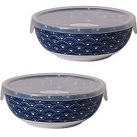 Minoru 陶器 美浓烧 缘起纹 小碗 M 带盖 2个套装 蓝海波 φ13.5×H5.3cm