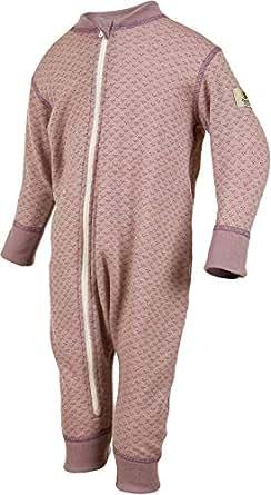 Janus 美利奴羊毛婴儿连体衣。 可机洗。 挪威制造。 紫色 50 (0-4 Months)