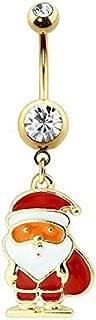 Covet Jewelry 镀金搪瓷圣诞老人双层宝石*钢脐环