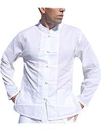 Raan Pah Muang 品牌人造丝粘胶衬衫中国纽扣长袖