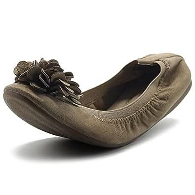 Ollio 女鞋人造麂皮装饰花一脚蹬舒适轻便芭蕾平底鞋 米色 8.5 M US