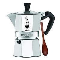 Bialetti Moka Express - 炉灶面浓咖啡机 - 铝质带丙烯酸手柄和把手 - 多种尺寸 银色 3 Cup w/Spoon 3-Espresso Cup Moka Express