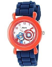 Marvel 漫威男孩美國隊長模擬石英手表硅膠表帶,藍色,16(型號:WMA000395)