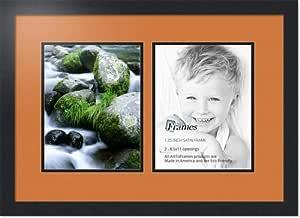 ArtToFrames 字母摄影相框 2-4x6 开口。 缎面黑框。 栗色 2-8.5x11 Double-Multimat-38-119/89-FRBW26079