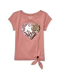 The Children's Place 女童大图案短袖侧边系带T恤