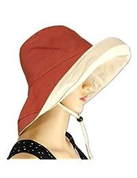 Shanlin 宽檐棉麻渔夫太阳帽,带*线和可拆卸下巴绳