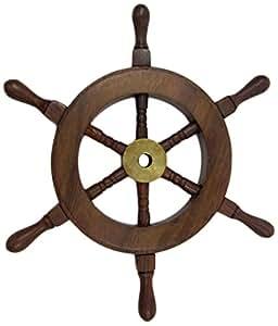 "Benzara 航海木和黄铜装饰船轮,15.24cm 9 "" NAU-SH8759"