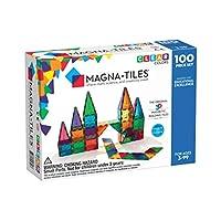 Magna 100片透明彩色砖片玩具套装 - 经典原创磁性建筑瓷砖 - 创意和教育用 - STEM通过