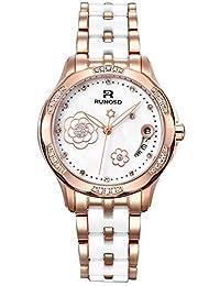 RUNOSD 斯诺威登 瑞士品牌 全自动机械手表 女士腕表 施华洛世奇水晶18K金珍珠陶瓷手表 8318L玫瑰金白面日历款