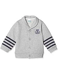 [马赛威斯] 婴儿男孩 标志&袖子条纹单点图案 带领对襟羊毛衫 2915B