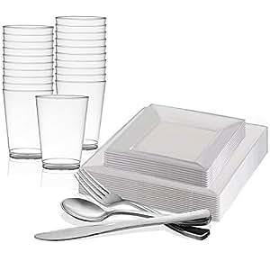Kaya 系列 - 方形一次性塑料餐具派对套装 - 包括餐盘、沙拉/甜点盘、金色餐具、玻璃杯 Square Clear 120 Person Package sqrclr107120