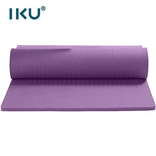 IKU 厚15mm 宽80cm 超厚加宽tpe瑜伽垫 环保净味防滑无痛保护关节瑜珈垫 加厚加宽加长男仰卧起坐平板支撑普拉提KEEP运动健身垫子(183cm*80cm*15mm) 送绑带+背包