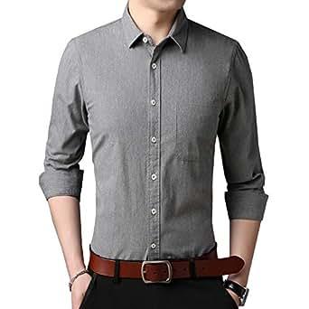 罗蒙100% 纯棉男士长袖衬衣衬衫 (9C725浅灰, XL(175))