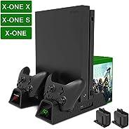 垂直冷却支架,Megadream Xbox One 双控制器充电扩展坞基座冷藏器,适用于 Xbox One/ Xbox One S /Xbox One X 控制台和 2 个 600mAh 电池和 12 个游戏光盘存储器