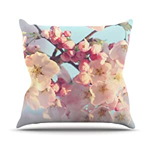 Kess Sylvia Cook Waiting for Spring Pink and Blue Outdoor Throw Pillow 绿色 18 x 18 英寸