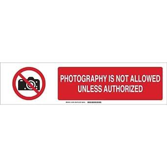 "Brady 140789 铝质 ""PHOTOGRAPHY IS NOT ALLOWED UNLESS AUTHORIZED""*标志滑块插入,15.24 cm 高 x 60.95 cm 宽,黑色/红色/白色"