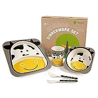 Bamboo 儿童餐盘和碗套装   *环保   5 件套包括幼儿餐盘套装   可爱动物设计   儿童餐具套装   可用洗碗机清洗(灰牛)