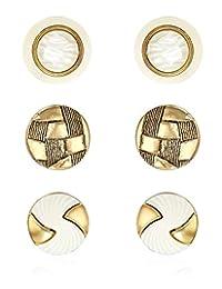 金色树脂时尚纽扣耳环(3 对装)