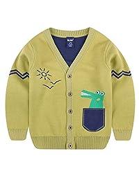 Tailloday 幼童男孩儿童长袖针织运动衫卡通恐龙 V 领开衫毛衣(3-7T)