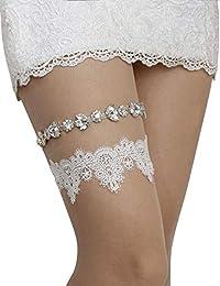 婚礼吊袜带套装蕾丝袜带新娘女式白色蓝色吊袜带尺码可选