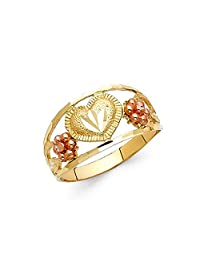 Paradise Jewelers 14K Solid Yellow Gold Two Tone Fancy Flowe Heart Ring, Size 8