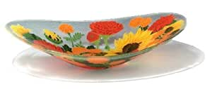 Peggy Karr Handcrafted Art Glass Autumn Garden Serving Bowl, Oval, 16-Inch