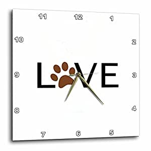 dpp_180483 InspirationzStore Love 系列 - 爱心棕色爪印 O. 动物爱好者爪印礼物 - 挂钟 棕色 15x15 Wall Clock dpp_180483_3
