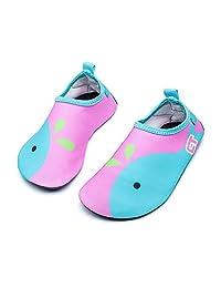 Qevellya 儿童水鞋游泳一脚蹬赤脚水鞋沙滩泳池冲浪男孩女孩学步儿童