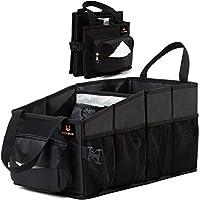 FoxBoxUsa 手提式汽车收纳箱前座椅带纸巾盒和杯架 座椅间汽车收纳盒   乘客座椅地板收纳袋   后座警察储存容器