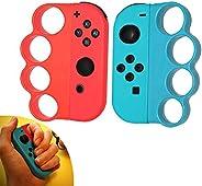 TAACOO 任天堂 Switch Joy Con 控制器手柄,拳击手指扣,适用于切换健身拳击游戏,2 包(红色和蓝色)