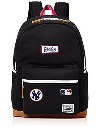 [MAJERRYG棒球]帆布背包 双肩包 双肩包 包 经典型 徽章 吸汗背包 Yankees 纽约 女士 男士 中性 男女通用 可爱 时尚 大容量 上学 学生 成人 通勤 旅行 YK-MBBK97