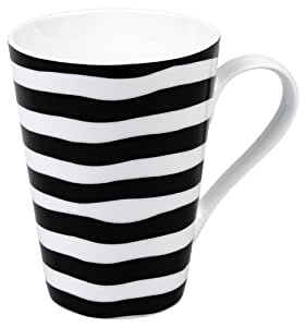 Konitz 13-Ounce Escapada Stripes Mugs, Black/White, Set of 4