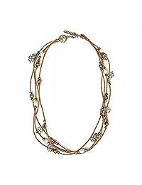 宝石王 30.48 cm 棕色皮制手镯/项链,带白色养殖淡水珍珠