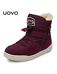 UOVO 优沃 冬季新款儿童雪地靴男童加绒靴子儿童保暖棉靴中小童雪地靴 乌拉尔【请参照图片中的尺码表选购】