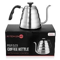 KitchenMO 带温度计的倒咖啡水壶(40液体盎司/1.2升) - 鹅颈优质不锈钢炉灶顶部水壶,适合滴漏式咖啡和茶。