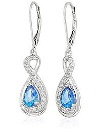镀铂金标准纯银施华洛世奇克什米尔蓝色和白色托帕石 infinity 泪珠拉杆后耳坠