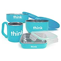 美国进口-Thinkbaby 辛克宝贝 不锈钢儿童餐具4件套(饭盒、汤碗、餐碗、水杯) 喂养套装-蓝色