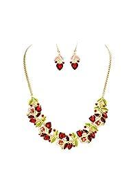 Rosemarie Collections 女士花朵和葡萄*玻璃水晶项链耳环套装 粉色和红色
