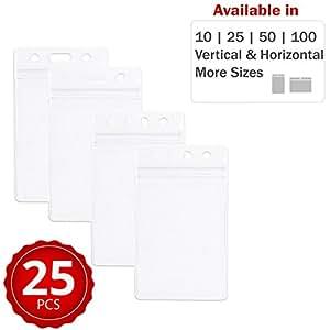 耐用重型身份牌夹具 ~ 优质透明塑料,防水防尘 ~ 适合身份证、妈妈、教师、旅游、事件、商务、巡航等,文具国王出品,更多产品 Vertical 25 Pack Clear Small 3.74 X 2.5