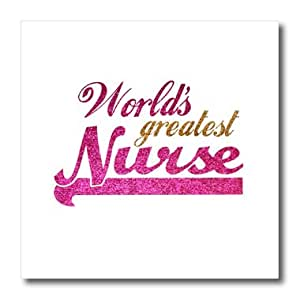 3dRose ht_151314_1 Worlds Greatest Nurse-Nurses Day Appreciation Gifts for Her-Iron on Heat Transfer for White Material, 8 by 8-Inch
